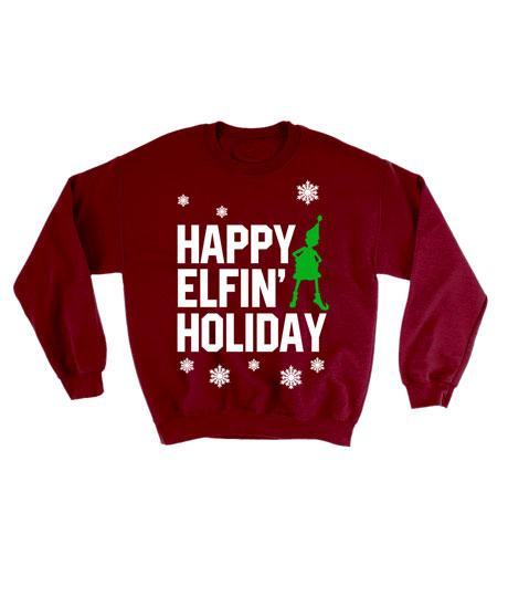 Happy Elfin Holiday Ugly Christmas Sweatshirt
