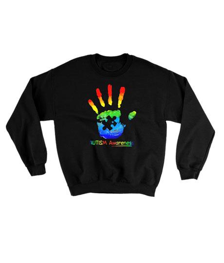 Colorful hand autism awarenes Sweatshirt