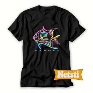 Vintage Caramel Neon Fish Chic Fashion T Shirt