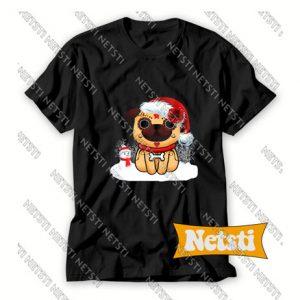 Sugar Skull Pug With Santa Hat Christmas Chic Fashion T Shirt